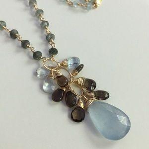 Fancy drop necklace Jade Welo opal 14k goldfill